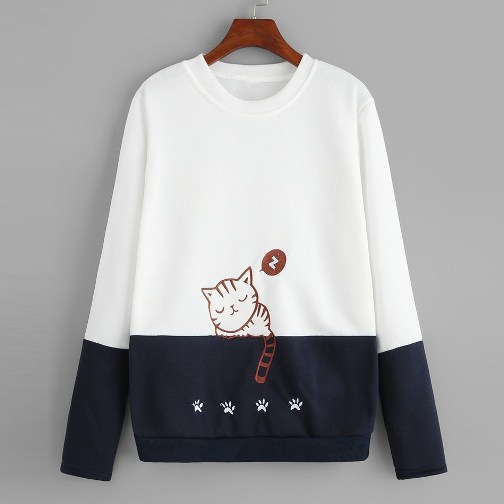 Women sweatshirt hoodies kawaii cat Printed Embroidery  Casual Patchwork Blouse Top Pullover Autumn Spring women Sweatshirt 2020