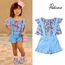 Pudcoco 2019 enfants vêtements costumes pour filles vêtements enfants Enfant en bas âge Enfant Fille Infantis tenues fleur Blouse été 2 pièces