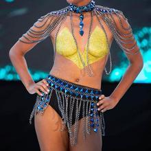 Boho Rhinestone Body Chain Blue Tassel Acrylic Bikini Set Sexy Summer Body Jewelry for Women and Girls