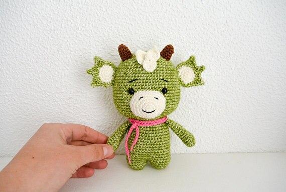 Crochet muñeco de dragón juguete sonajero
