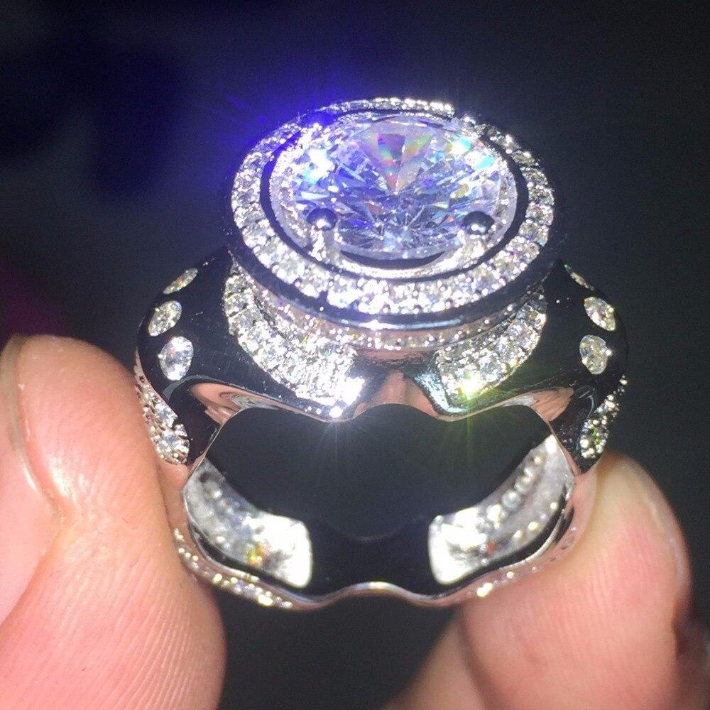 Дизайнерское кольцо из белого золота 14 карат с кубическим цирконием, мужское коктейльное кольцо, украшения для свадьбы, кольцо на палец