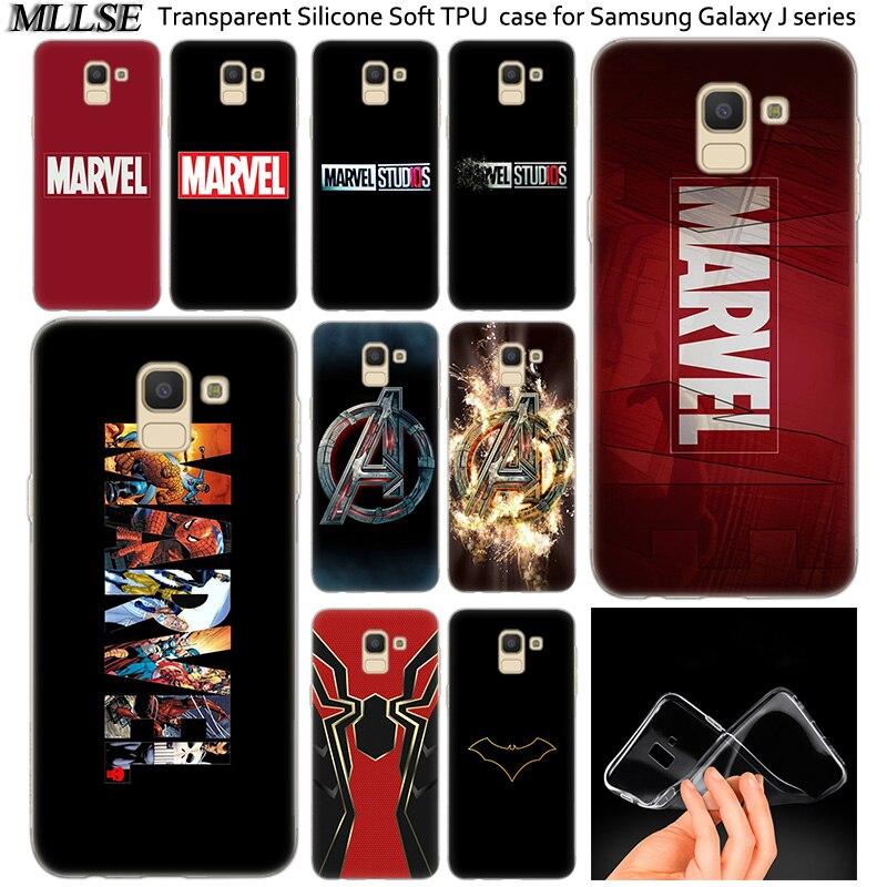 Caliente Marvel Comics logotipo Simple de silicona funda para Samsung Galaxy J2Pro J4 J6 J8 2018 J3 J5 J7 2016 2017EU primer CORE Plus de moda