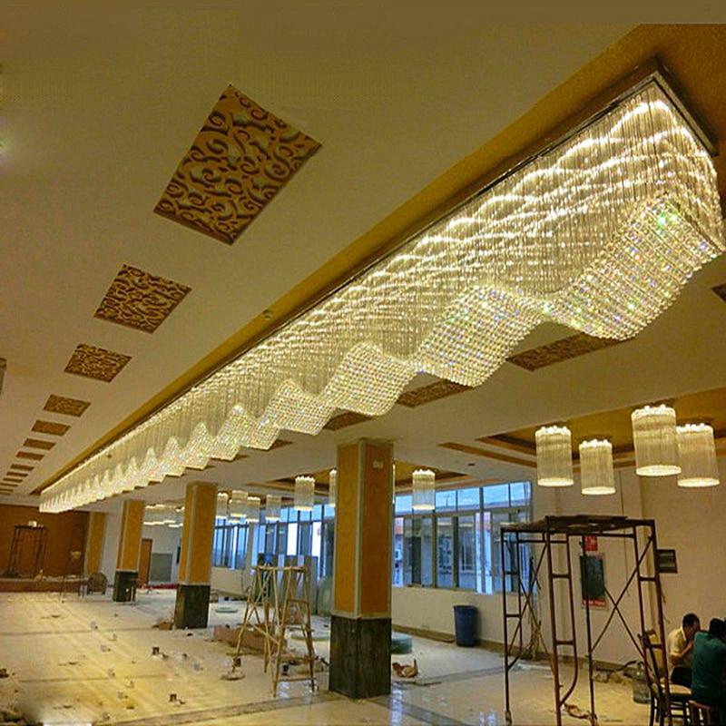 مصباح سقف led مستطيل الشكل مصنوع من الكريستال ، مثالي لمشروع فندق كبير ، للفيلا ، النادي ، الفندق ، غرفة المعيشة ، البار