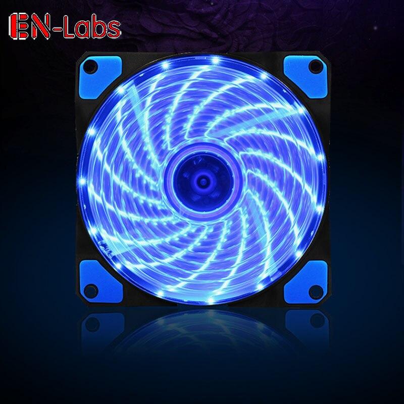 Вентилятор для корпуса En-Labs 120 мм, тихий 15 светодиодов теплоотвода 16 дБ, охлаждение с антивибрационной резиной, вентилятор 12 см, 12 В постоянного тока 3P IDE 4pin