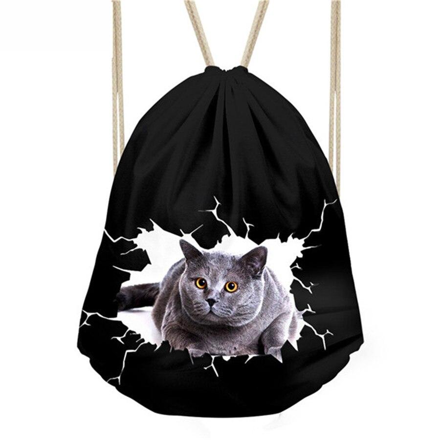 Детская маленькая черная сумка для девочек, школьные сумки для женщин, милая сумка на шнурке с принтом кота, сумка для хранения упаковки