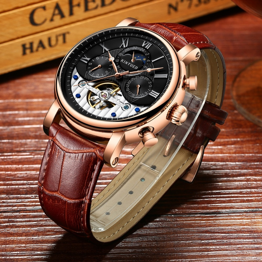 KINYUED Automatic Skeleton Watches Moon Phase Mens Tourbillon Mechanical Watch Military Calendar horloges mannen montre homme ailang original design watch automatic tourbillon wrist watches men montre homme mechanical leather pilot diver skeleton 2019