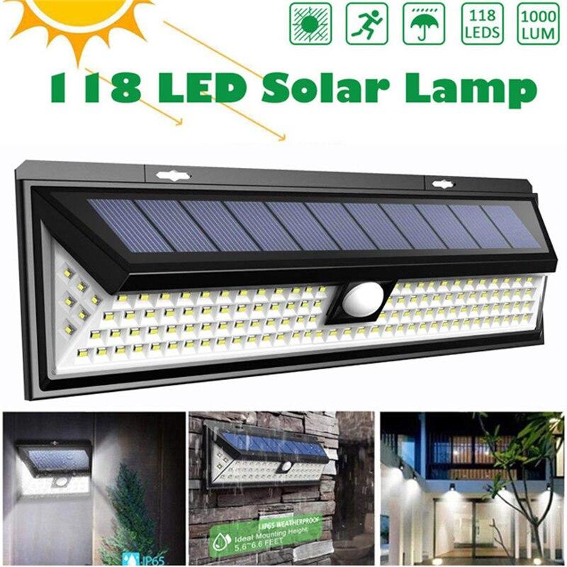 118 LEDs luz Solar 1000LM Super brillante al aire libre colector Solar luces con Sensor de movimiento & IP65 impermeable PIR Sensor de movimiento 3,7 V