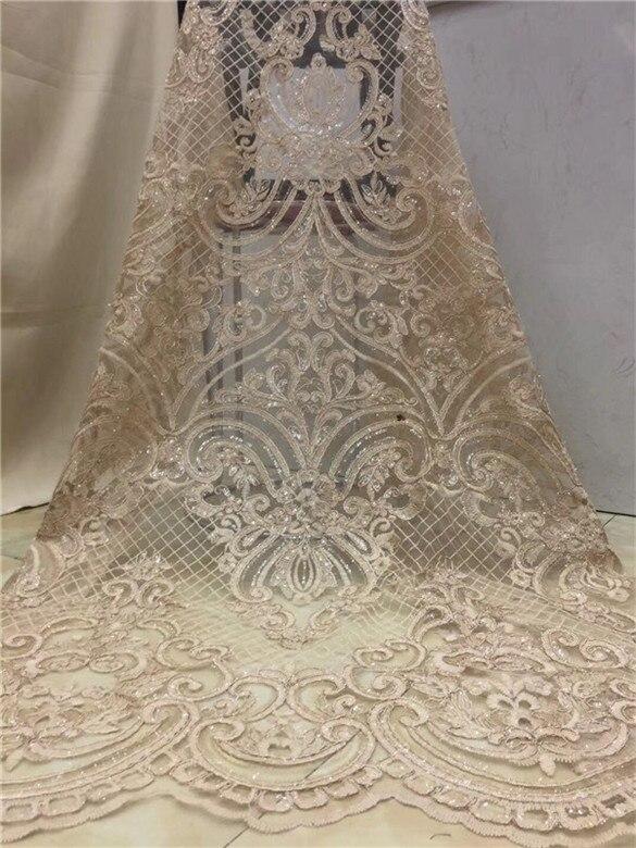 Tela de encaje africana de alta calidad, tela dorada para bordado de boda tela de encaje de lentejuelas africanas 5y azul cielo, blanco y rosa