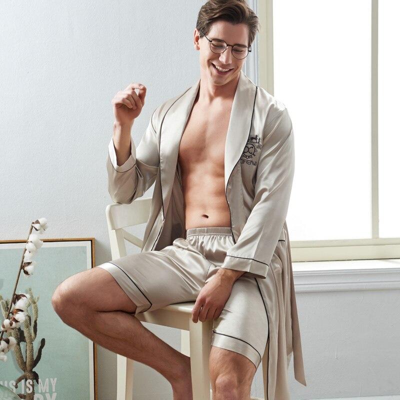 Xifenni Sexy Silk Man Sleeping Robe Shorts Sets Spring New Satin Silk Sleepwear Male Long Sleeve Faux Silk Bath халаты 2824
