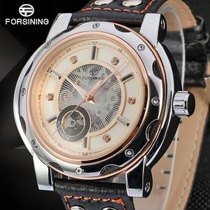 FORSINING New Series radiator Flywheel Automatic Mechanical Watches Men Luxury Top Brand Transparent Genuine Leather Wrist watch