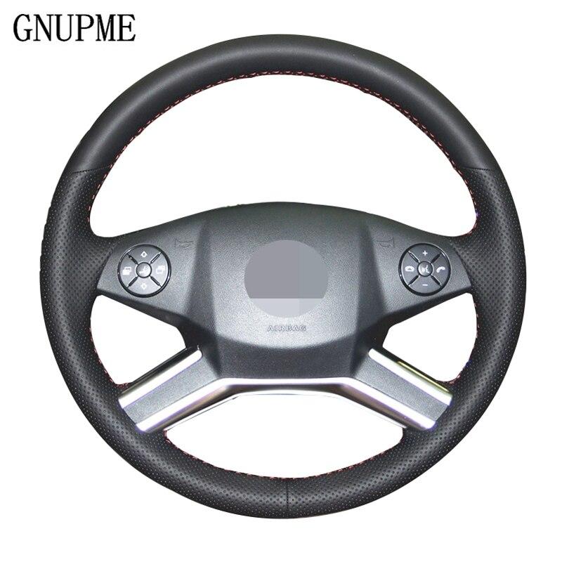 GNUPME DIY cosido a mano de cuero Artificial negro cubierta del volante del coche para Mercedes Benz R320 R400 R350 GL450 ML350