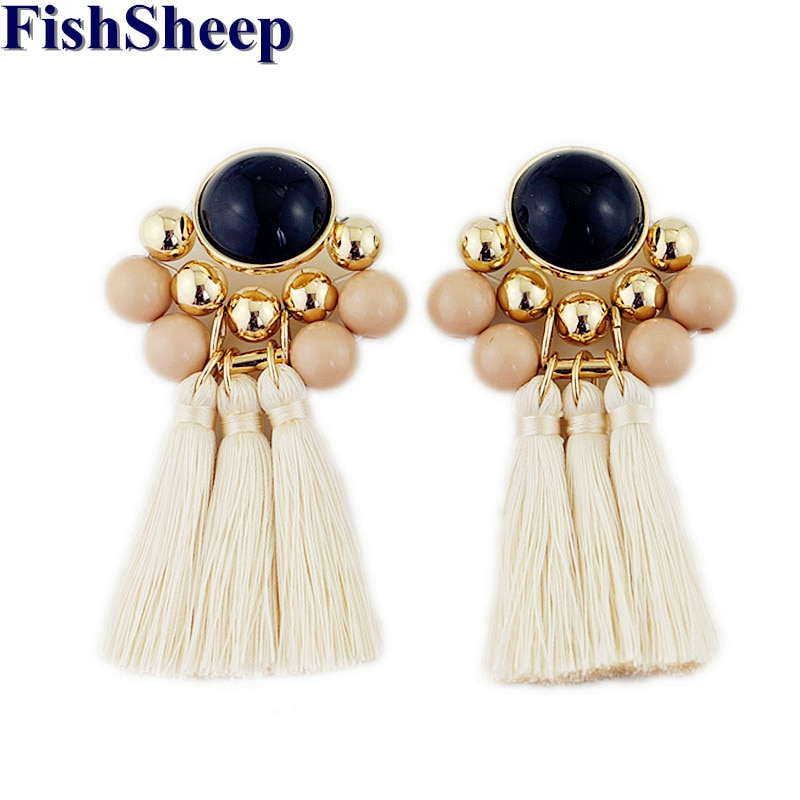 FishSheep Statement Acrylic Beads Drop Tassel Earrings For Women Bohemian Ethnic Gold Color Beads Long Fringe Earrings Jewelry