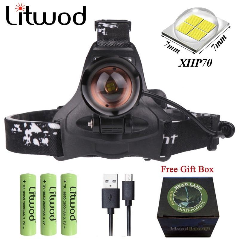 Z20 litpod 2806 LED XHP70 Faro de pesca 32000LM potente Led faro zoom cabeza luz linterna antorcha para camping