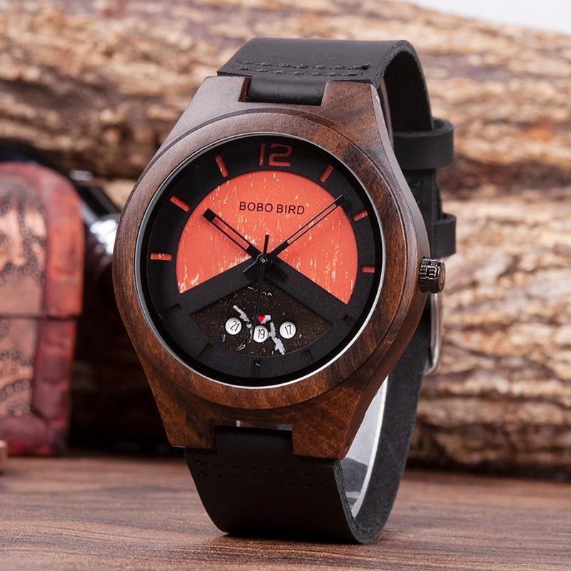 Мужские часы BOBO BIRD, деревянные мужские часы, мужские часы, мужские кварцевые наручные мужские часы, регулируемые наручные часы в подарок, Пр...