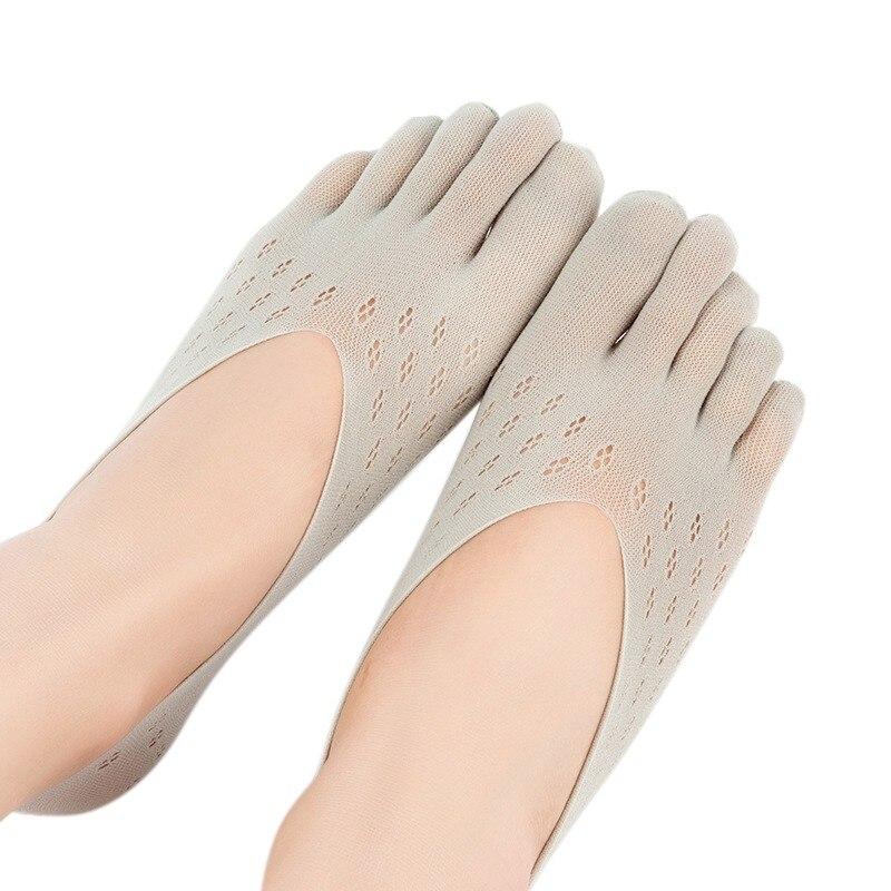 Señoras terciopelo ciruela calcetín zapatillas transpirables malla escotado Invisible silicona barco calcetines calcetín de cinco dedos zapatillas