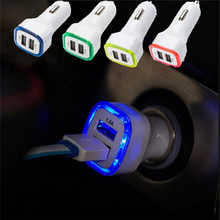 Universal LED Light Double 2 Port 2.1A+1A USB Car Charger For Samsung Apple Cell Phone