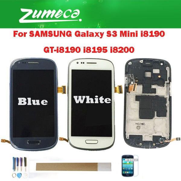 Para Samsung Galaxy S3 Mini i8190 GT-i8190 i8195 i8200 Samsung S3 Mini pantalla LCD + Digitalizador de pantalla táctil con marco con kit