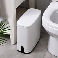 Multifunction 12L Plastic Narrow Type Trash Can Toilet Garbage Basket Trash Bin Brush Storage Bucket With Lid Bathroom Cleaning
