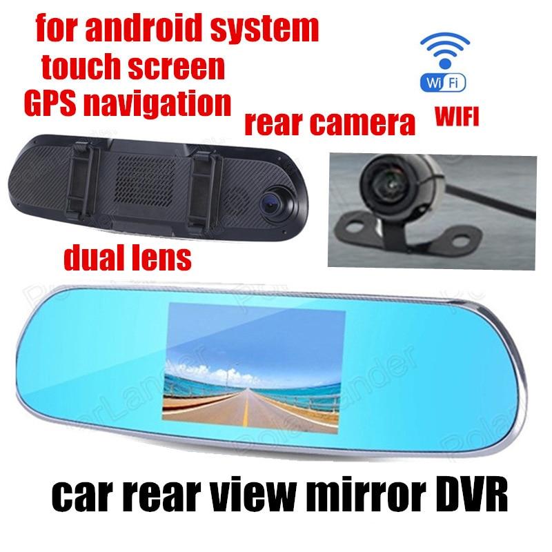 Espelho retrovisor do carro DVR de lente dupla gravador de vídeo para o android GPS WIFI 5.0 polegada frente 140 traseira de visão de 120 graus ângulo