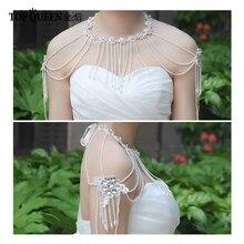 TOPQUEEN G03 perles sur mesure boléro vestes pour robes de soirée boléro perlé robe de mariée châles de fête collier de mariée