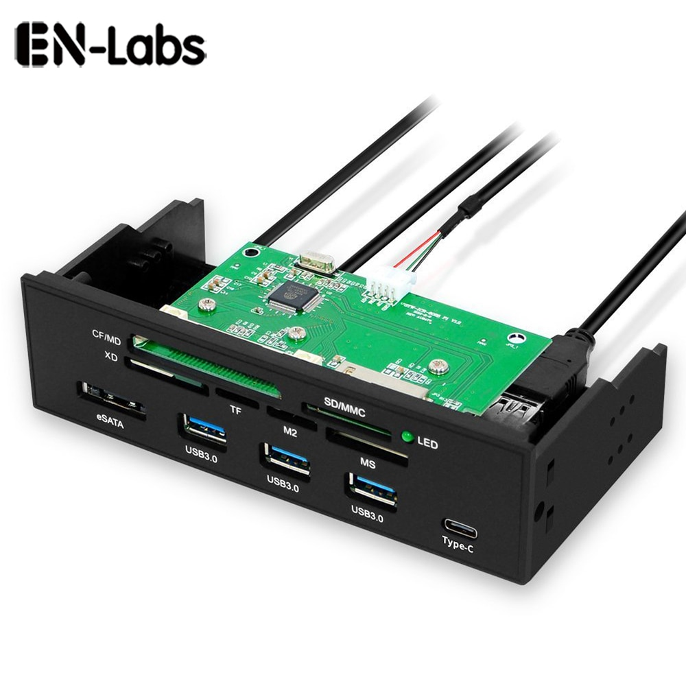 EN-Labs 5.25 PC Computer Front panel USB 2.0 card reader with 3 ports USB3.0,Type-C, eSATA,MD,SD/MMC,XD,TF,M2,MS,64G CF Reader usb hub 3 ports usb data transmission hub station ms m2 sd mmc tf card reader