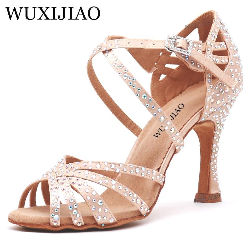 WUXIJIAO Women Party Dance Shoes Satin Shining rhinestones Soft Bottom Latin Dance Shoes Woman Salsa Dance Shoes heel5CM-10CM