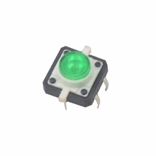 Tact momentâneo tátil do interruptor de botão do diodo emissor de luz verde de 5 pces com tampão redondo conduzido