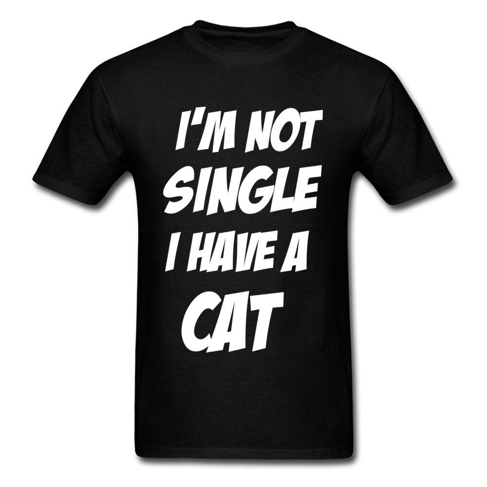Забавная футболка для мужчин, черная футболка, IM NOT SINGLE I HAVE A CAT, белые топы с буквенным принтом, черная футболка, хлопковая одежда, оптовая про...