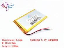 Meilleure batterie marque taille 3570100 3.7 V 4000 mah Lithium tablette polymère batterie avec panneau de Protection pour tablette PC 7 pouces