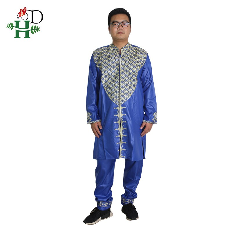 Ropa para Hombre H & D Dashiki Bazin Riche, Ropa Africana, Ropa para Hombre, conjunto de dos piezas de 2 piezas, trajes de pantalón bordados, atuendo