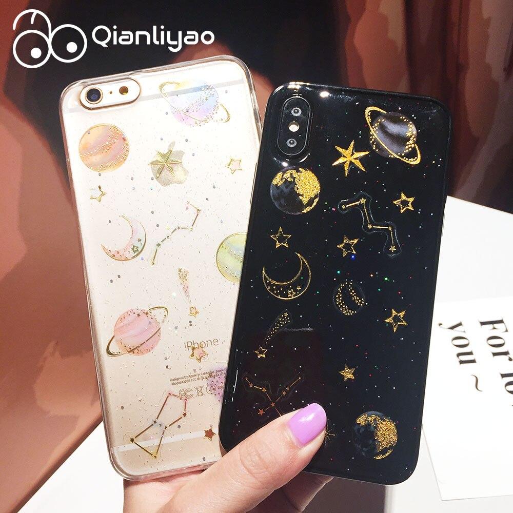 Qianliyao Para iphone Caso Max XR XS Glitter Starry Sky Caso de Telefone Lua Para iphone 11 Pro Max 6 6S 7 8 Plus X Tampa Transparente Macio