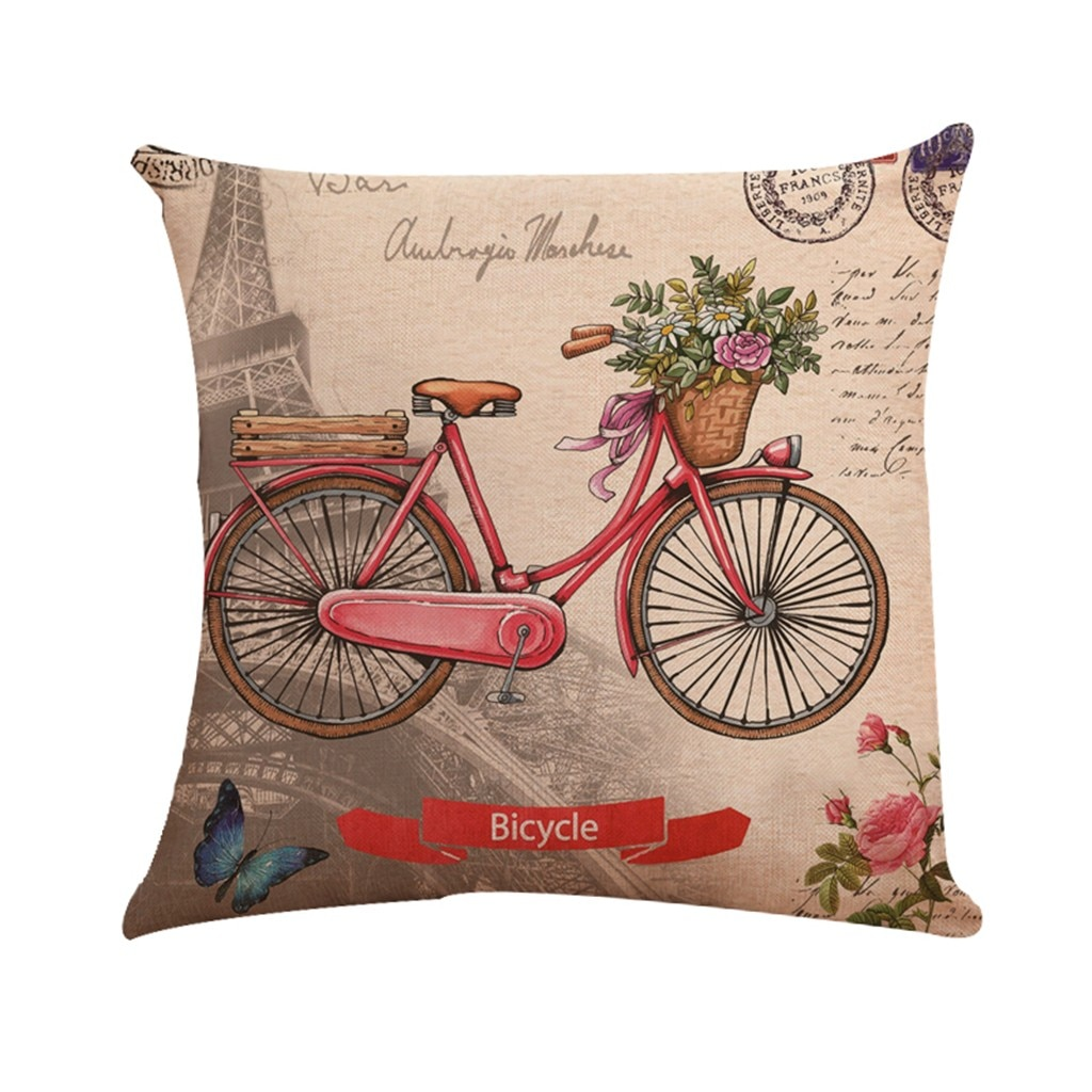 Funda de almohada para bicicleta de dibujos animados, funda de almohada con estampado de lino y flores de mariposa, Torre y avión, funda de cojín para decoración del hogar