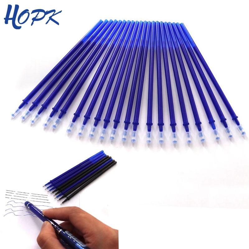 Bolígrafo borrable de 20 uds, bolígrafo de tinta azul/negro/rojo de 0,5mm para materiales de escritura para oficina, varillas borrables, papelería