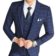 Size S-5X ( 1Piece Jacket ) New Men's Fashion Boutique Lattice Business Casual Blazer Groom Wedding Dress Formal Blazer Men Coat