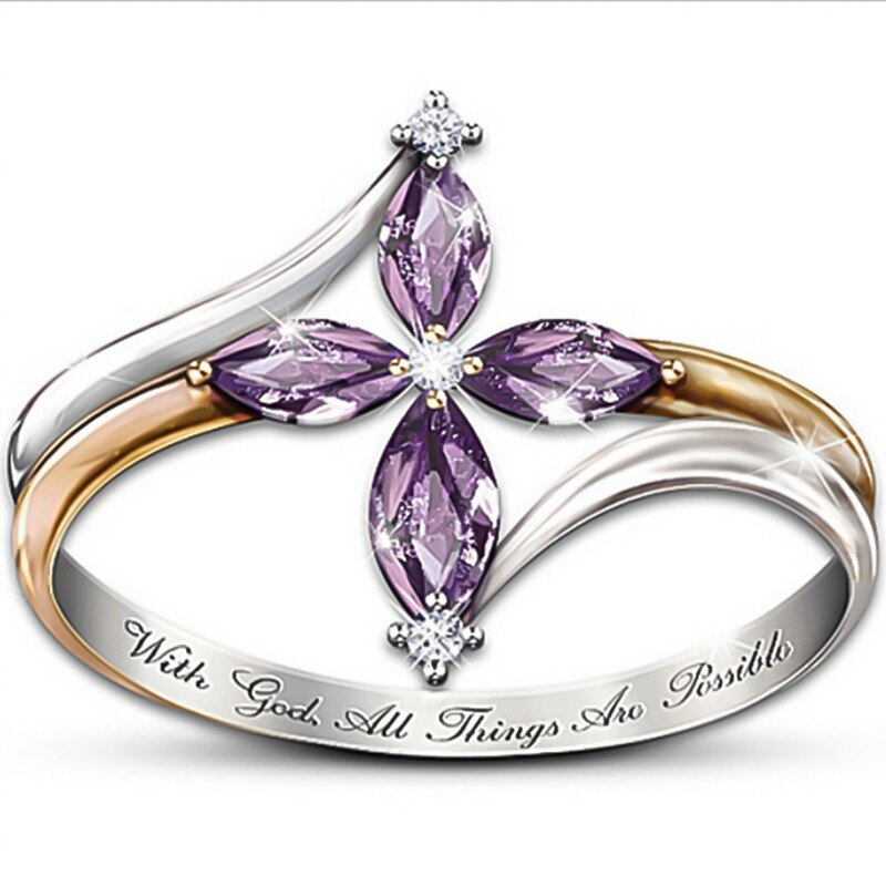 Anillo de boda de circonita azul púrpura de alta calidad para mujer joyería de cristal de dos tonos de compromiso joyería femenina Bijoux