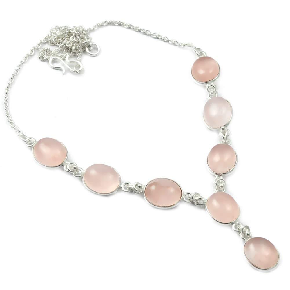 NiaoZaiFei YunZaiKan Nature Rose Quartz Necklace 925 Sterling Silver, 50 cm, 2SN0020