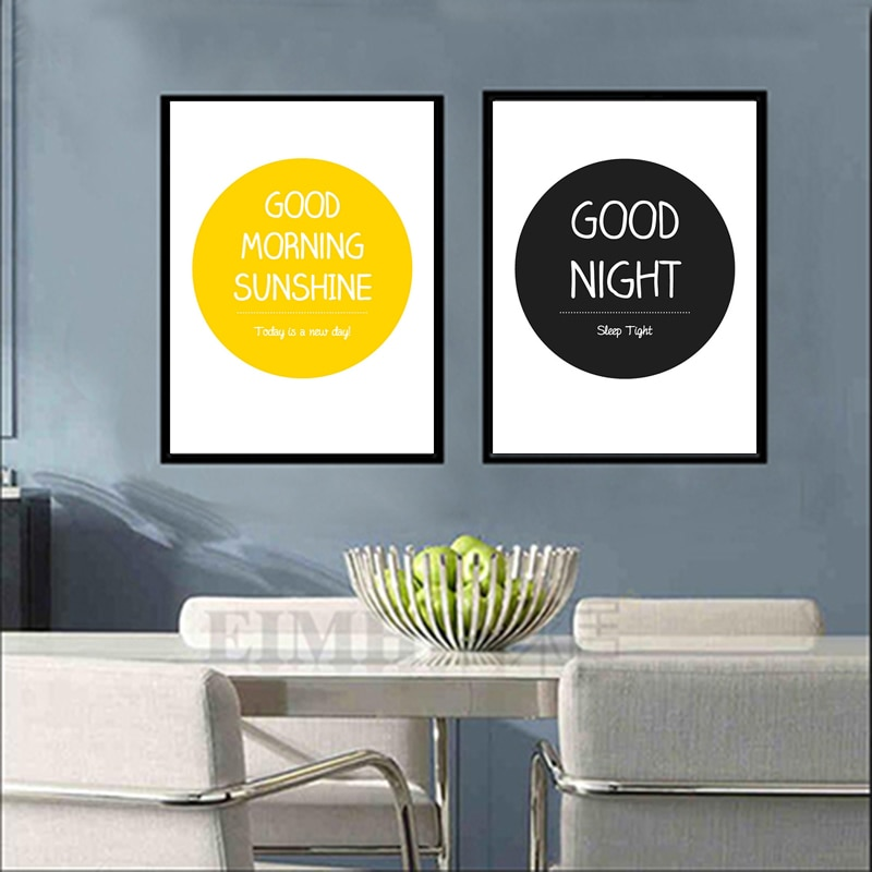 Citas modernas buenas noches sol mañana amarillo negro círculo calendario artística, Simple impresión de pared pinturas fotos casa Decoración