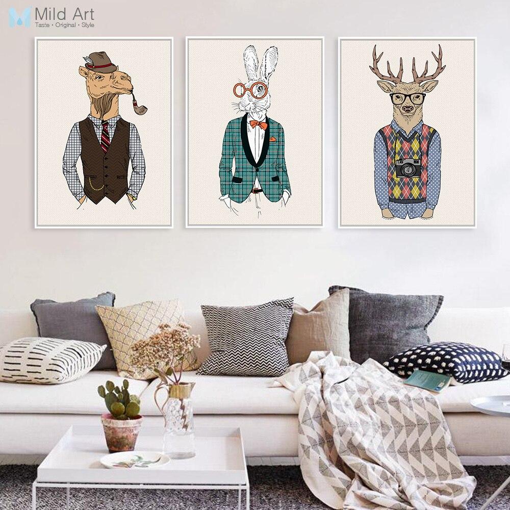 Vintage moda hipster animais selvagens girafa veados zebra cavalo posters quadros da arte parede retro decoração casa quadros em tela