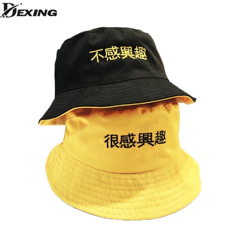 Two Side Reversible Bucket Hat Unisex Fashion Bob Caps Hip Hop Gorros Men Summer Caps yellow Beach Sun Fishing Bucket Hat