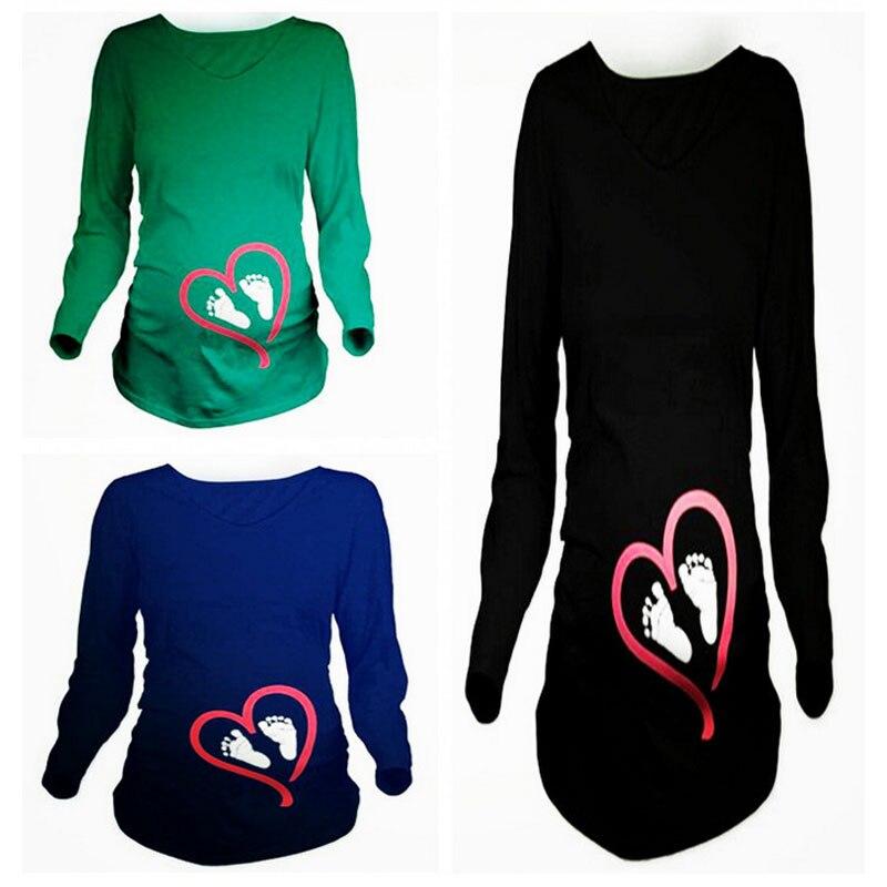 Ropa de embarazo para maternidad 2020 Camiseta estampada con PIE de bebé Camiseta de manga larga para maternidad camisetas divertidas para mujeres embarazadas S-2XL