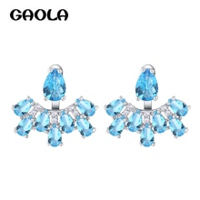 GAOLA Neue Blaue Blume Zirkonia Ohrstecker Frauen Mode Ohrring GLE7008Y