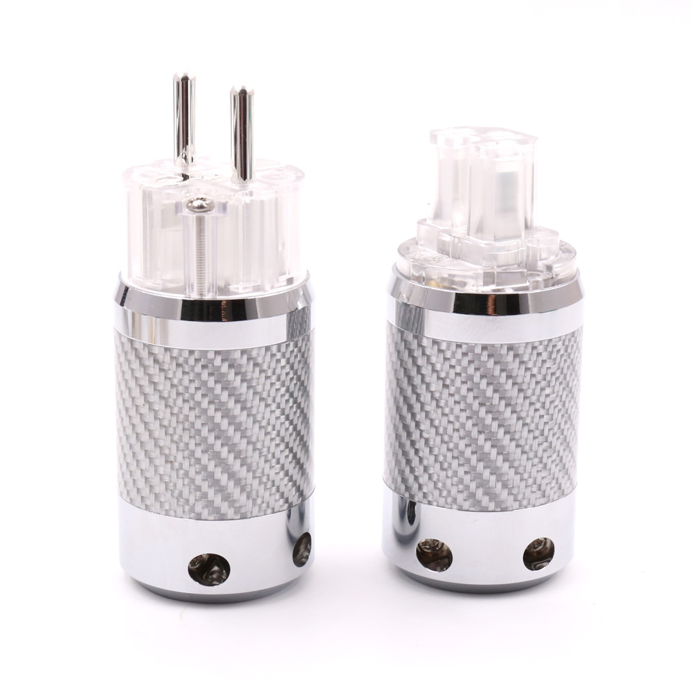 Hifi audio Silver Plated EU Schuko Power Plug IEC Female connector Carbon Fiber Metal Chassis Connector HI Eed