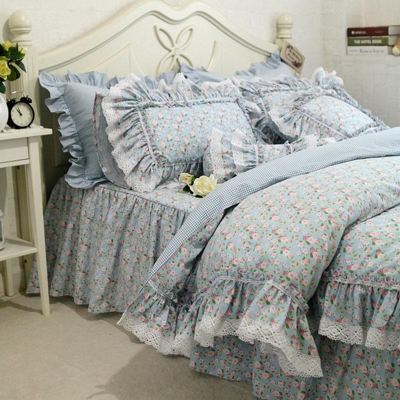 مفرش سرير من الدانتيل المطرز بالورود ، مجموعة جديدة ، مع غطاء لحاف مكشكش ، تطريز عالي الجودة ، تنورة سرير رعوية