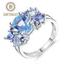Mücevher bale 3.47Ct doğal Sky Blue Topaz mistik kuvars taş yüzük 925 ayar gümüş Mona Lisa yüzükler kadınlar için düğün