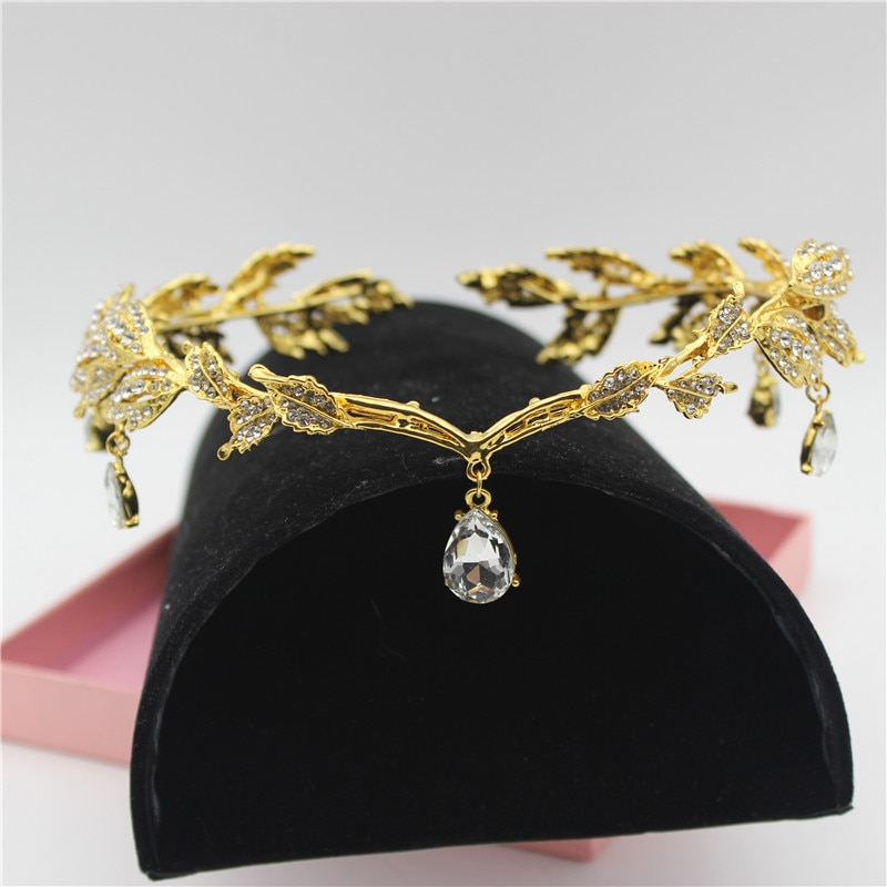 Sparkly Crystal Gold Leaves Women Bridal Headband Bride Head Chain Headpiece Rhinestone Tiara Wedding Prom Hair Accessories