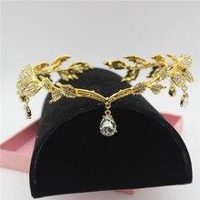 Brillant cristal or feuilles femmes mariée bandeau mariée tête chaîne casque strass diadème mariage bal cheveux accessoires