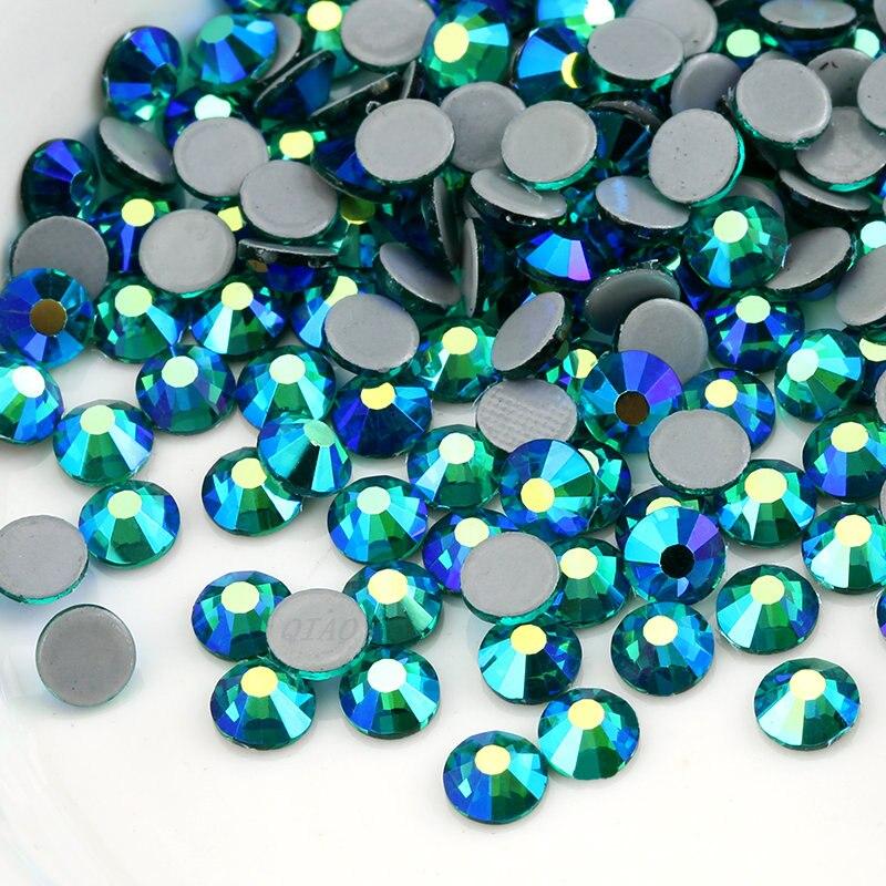 Diamantes de imitación de alta calidad con circonita verde AB SS16 SS20, diamantes de imitación de cristal para decoración de ropa o boda