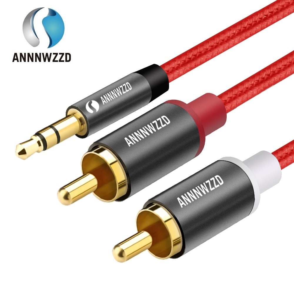 RCA Audio Cable 2RCA Male to 3.5mm Jack to 2 RCA AUX Cable Nylon Braided Splitter Cable for Home The