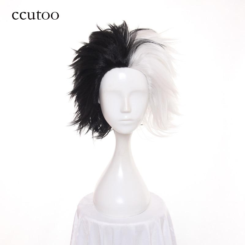 ccutoo 30cm Half Black And White Fluffy Short Layered Synthetic Wigs 101 Dalmatians Cruella Devil Cosplay Costume Wig
