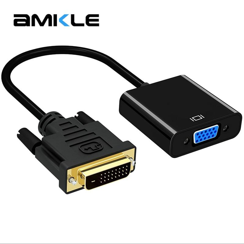 Amkle 1080P DVI-D-VGA адаптер кабель DVI 24 + 1 25 Pin DVI папа-VGA Женский видео конвертер адаптер для ТВ PS3 PS4 ПК Дисплей
